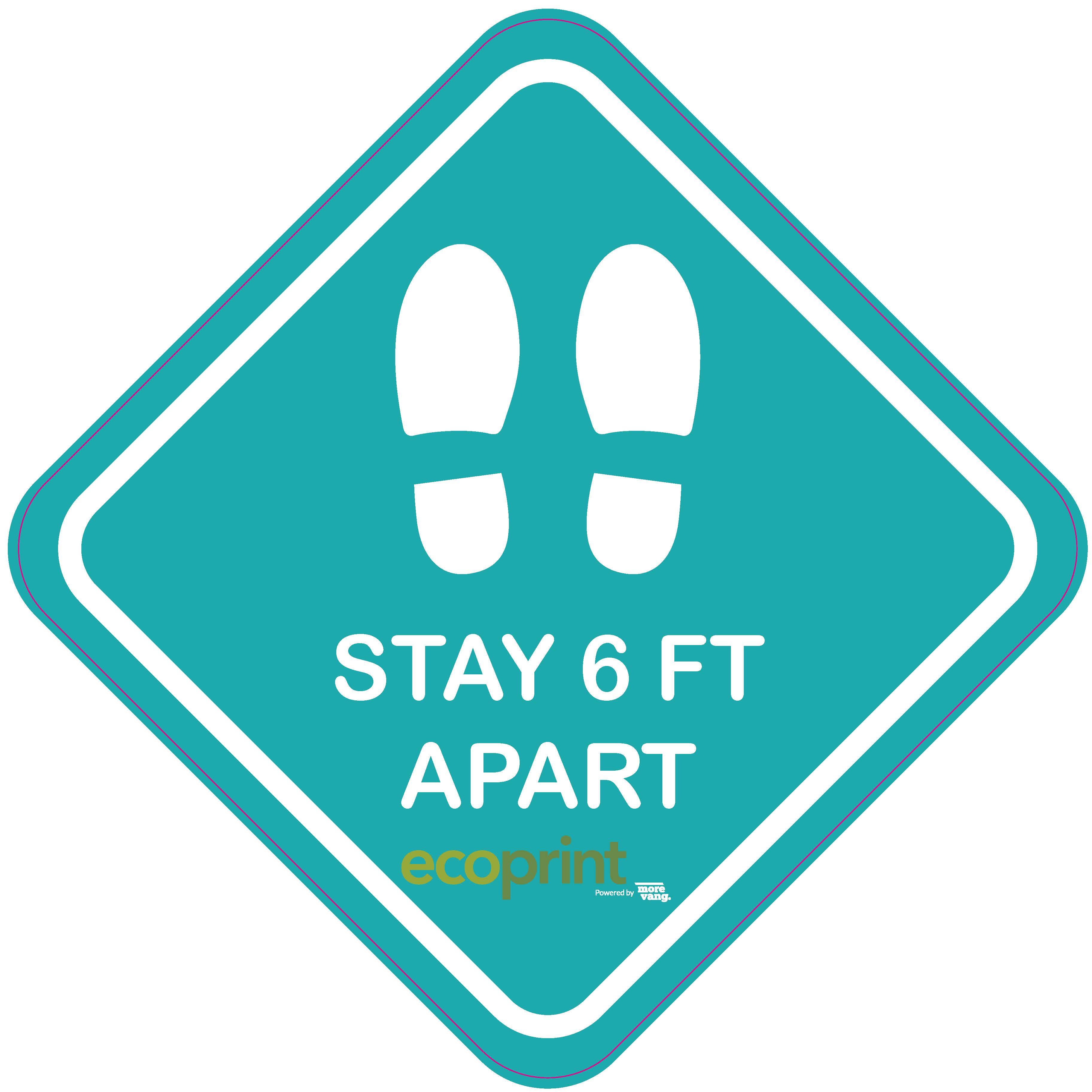 "18"" x 18"" Floor Graphic – Stay 6 Feet Apart"