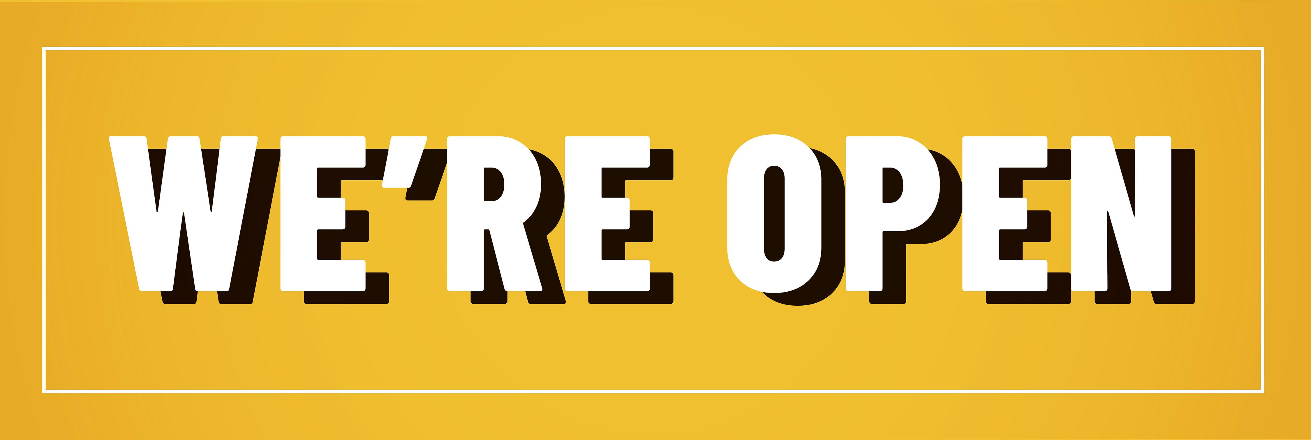 12' x 4' Banner – We're Open