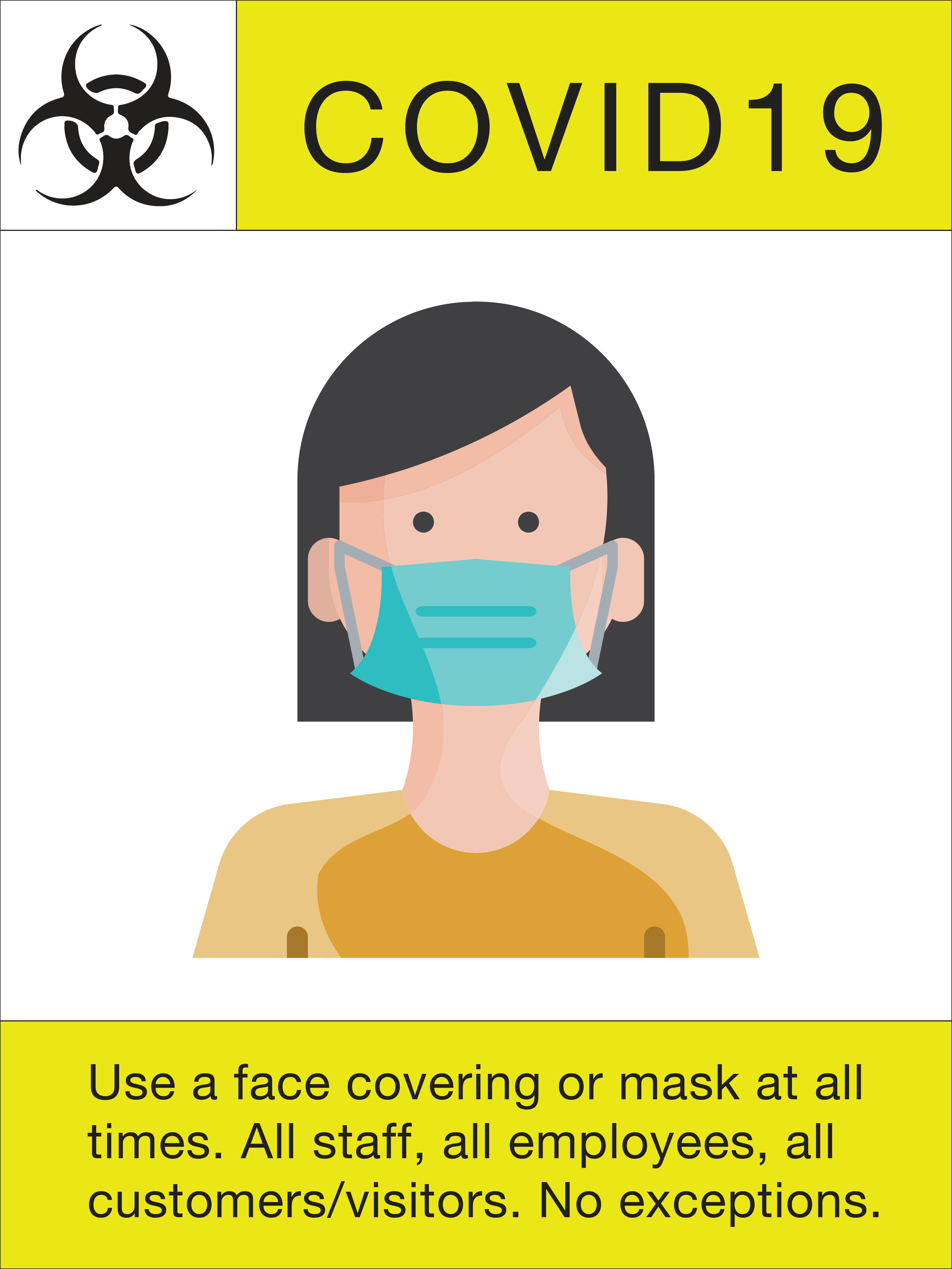 "24"" x 18"" Poster – ""Use a Face Covering"""