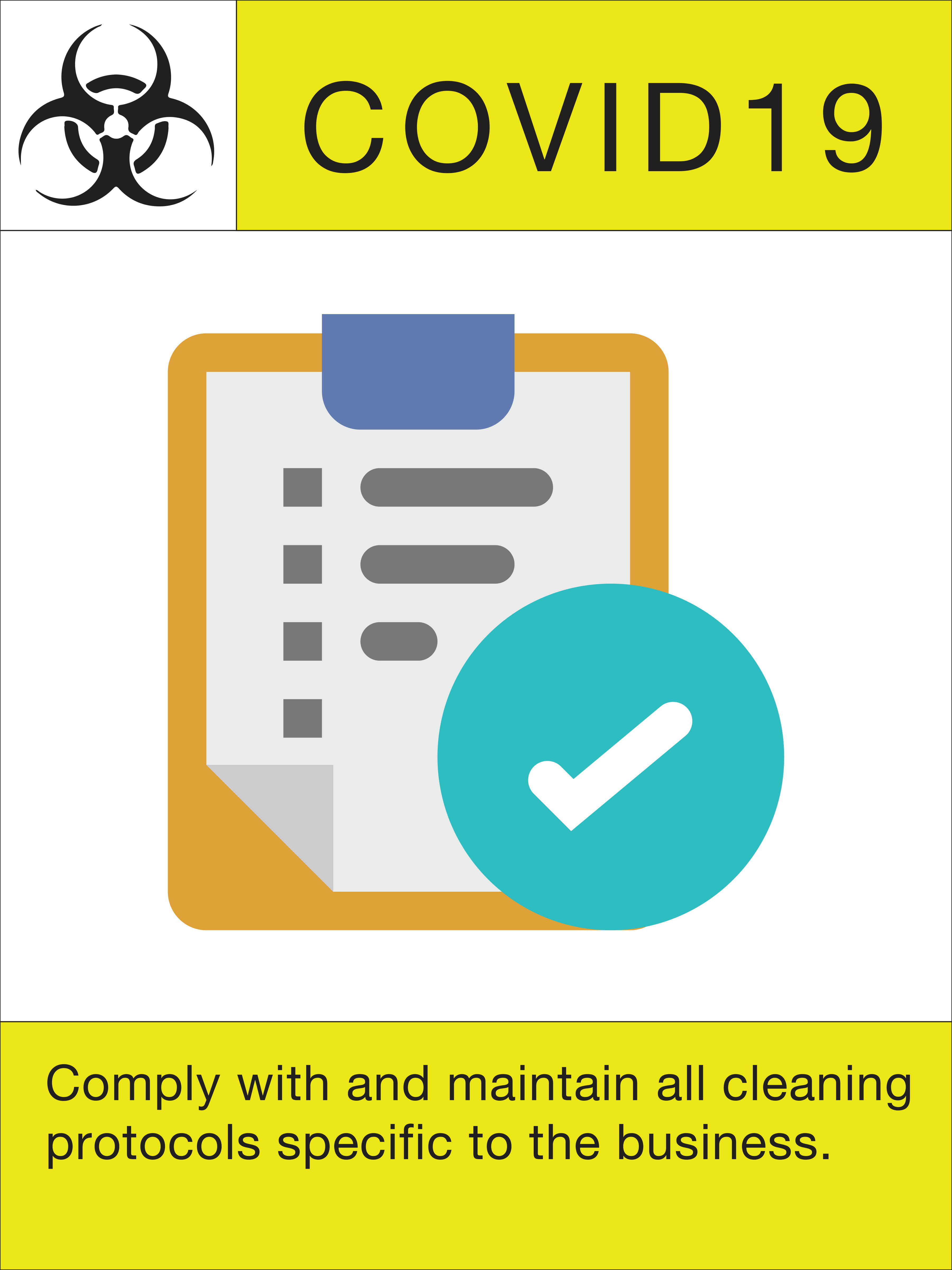 """24"""" x 18"""" Poster – """"Maintain Cleaning Protocols"""""""