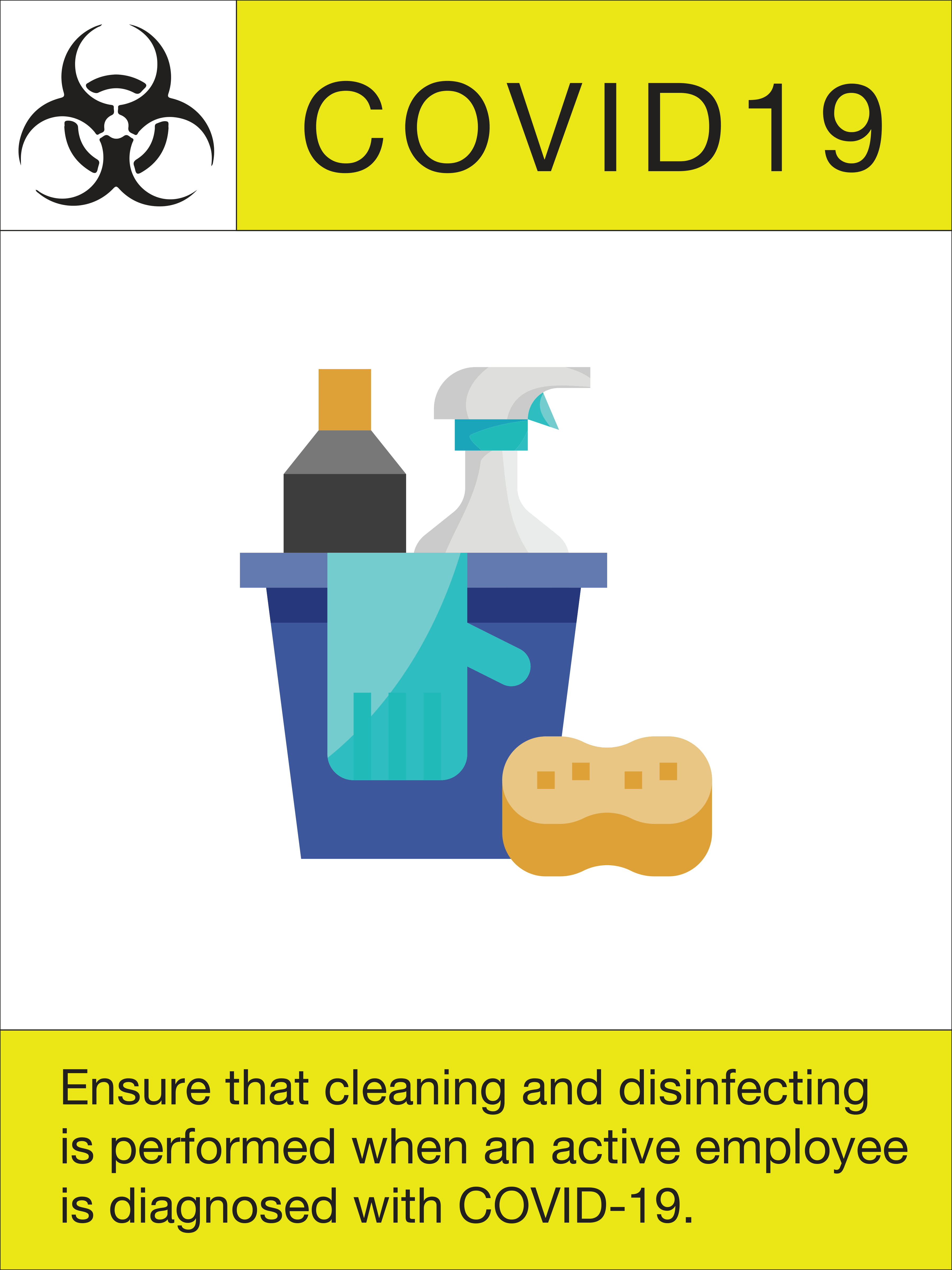 """24"""" x 18"""" Poster – """"Cleaning and Disinfecting"""""""