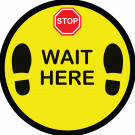 "18"" x 18"" Circular Floor Graphic – Wait Here"